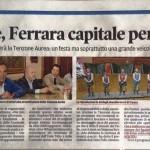 Articolo su La Nuova Ferrara per la partecipazione alla Tenzone Aurea di Settembre con set di scansione dei figuranti del Palio