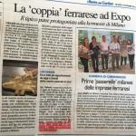 Articolo de Il Resto Del Carlino per la partecipazione ad Expo Milano 2015 il 14 Settembre in Piazzetta Emilia Romagna fra le imprese innovative ferraresi