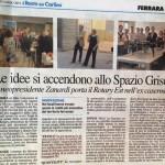 Articolo de Il Resto Del Carlino sulle aziende presenti allo Spazio Grisù in occasione della visita del Rotary
