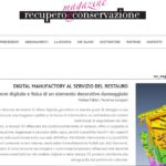 """Abstract di articolo su """"Recupero e conservazione magazine"""" di Luglio-Agosto 2018"""